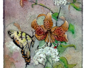 Original Watercolor Painting titled Butterfly with Tiger Lily and White Flowers