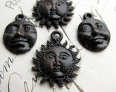 Sun and Moon face charms, night day, light dark, antiqued black pewter (4 charms) spiritual healing, opposites, oxidized black