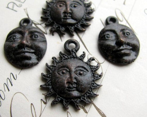 Sun and Moon face charms, night day, light dark, antiqued black pewter (4 charms) spiritual healing, opposites, oxidized, Boho charms