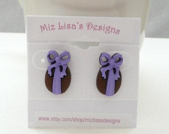 Chocolate Easter Egg w Purple Bow Stud Earrings