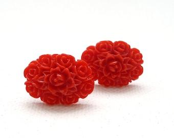 ns-Red Oval Flower Bouquet Stud Earrings