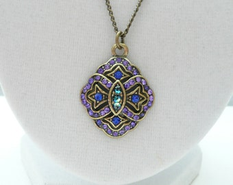 Antique Bronze Necklace with Purple and Blue Rhinestones