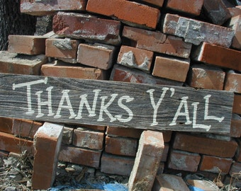 Western Cowgirl Rustic Wood Wedding Bridal Southern Drawl Thank You Sign Thanks Yall