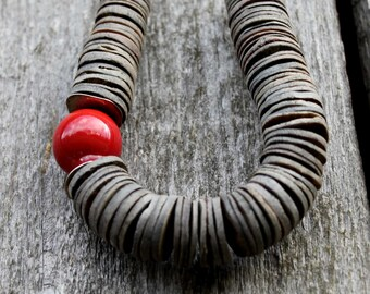 Asymmetrical Necklace Red Ceramic Gray Shell Geometric Scarlet Minimalist Summer Fashion Jewelry Silver Chunky Statement