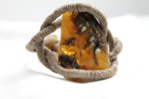 Huge Baltic Amber Linen Bracelet Honey Raw Stone Jewelry Entanglem Statement Large Big Gemstone Wrap