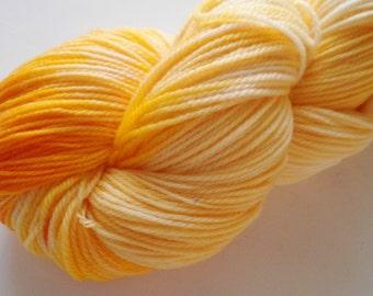 Hand dyed yarn, fingering weight, Merino Wool, 493 yds, Good Day Sunshine