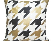 "New-Houndstooth Pillow Cover-black and gold printed in white cotton-19""(50CM)"