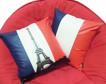 """pray for paris-set of 2-Eiffel Tower flag With French flag Pillow Cover-16""""(40cm)"""