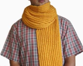 Sale 40%: Mustard yellow scarf, Mens knit scarf, Man scarf, Yellow knit scarf for men