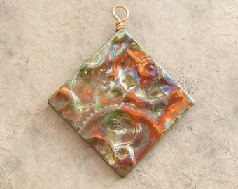 Ceramic Steampunk Pendant - Green and Copper Diamond with Gears