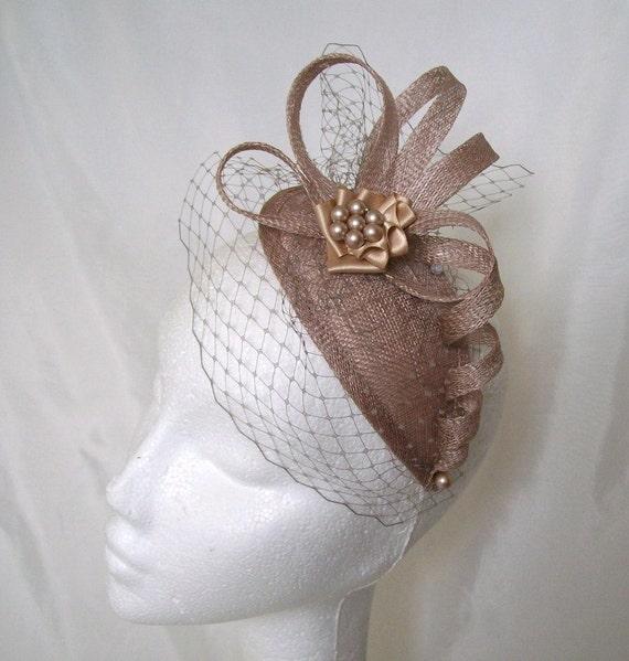 Elegant Latte Beige and Cream Teardrop Sinamay Veil & Pearl Vintage Style Wedding Fascinator Mini Hat - Custom Made to Order