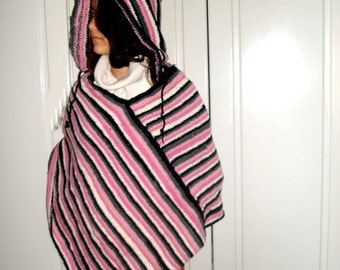Hand knitted Hooded Poncho recycled yarn Large size Warm Winter Fashion Sale Discount