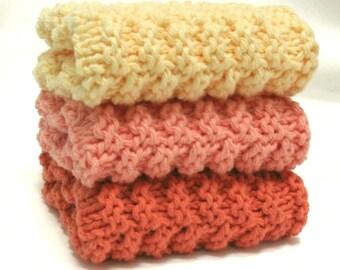 Knit Dishcloths Set Cotton Knit Washcloths Yellow Peach Kitchen Decor