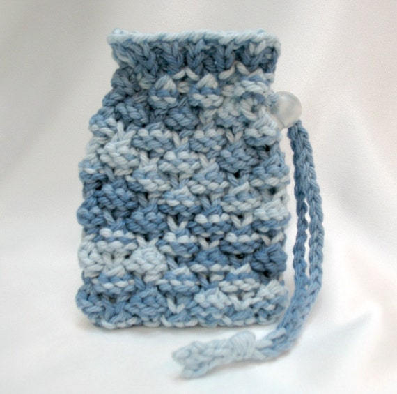 Knitting Pattern Small Drawstring Bag : Soap Saver Bag Knit Soap Sack Drawstring by SticksNStonesGifts