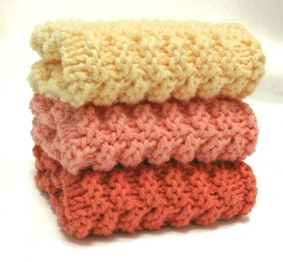 Knit Dishcloths Cotton Knit Washcloths - Set of 3