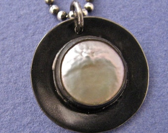 Black oxidized sterling silver and white coin pearl pendant necklace