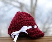 Newsboy girl Infant beanie Newborn cap Maroon baby hat White ribbon bowtie visor brim