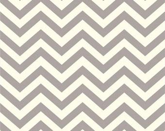 Organic Cotton Fabric- Birch Mod Basics2 - Skinny Chevron -shroom- Great Shipping Rates