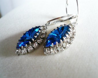 Vintage Swarovski, Something Blue Bridal Earrings