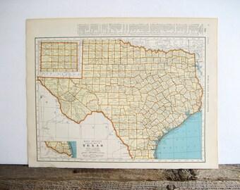 Map Texas and South Dakota 2 Sides 1940 Original
