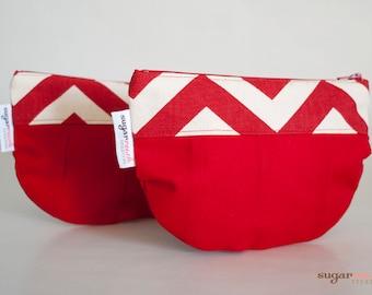 Red Chevron make up bag