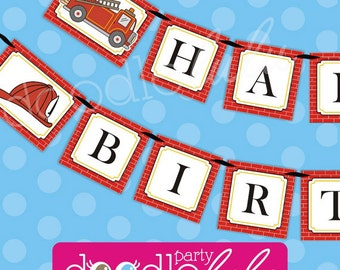 INSTANT DOWNLOAD DIY Printable Fire Truck Engine Fireman Happy Birthday Banner from Doodlelulu by 2 june bugs