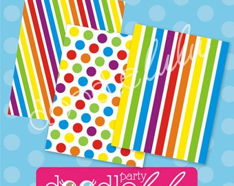 INSTANT DOWNLOAD DIY Printable Rainbow Paper - 3 Versions/Designs from Doodlelulu by 2 june bugs