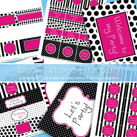 Hot Pink and Black Party Decorations Girl Birthday Party Teen