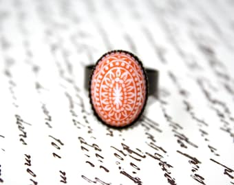Tangerine Mosaic Adjustable  Ring