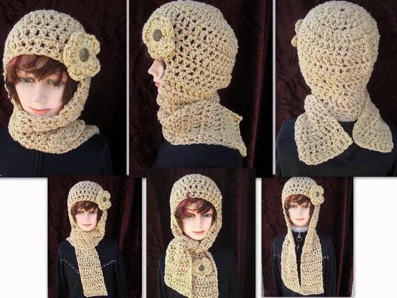 Crochet Pattern Hat Scarf Combo : 113 CROCHET PATTERN Hat scarf...hat scarf combo Hood by ...