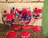 "Handpainted, Personalized  ""SMU"" Wine Glasses"