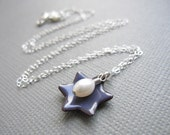Purple Jewish Star of David Necklace White Pearl Sterling Silver African Violet Enamel