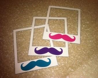 Mustache Polaroid Magnets (set of 3)