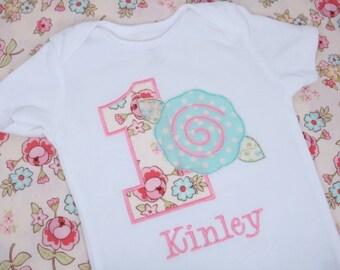 Girls Birthday Shirt - Girls Birthday Shirt Flower Rose - Tea party Birthday shirt - First Birthday Shirt - Shabby Rose
