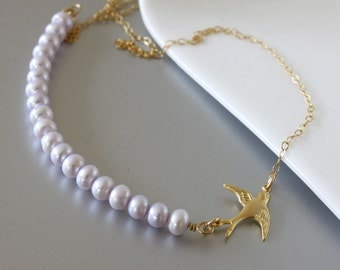 Fresh Water Pearls Necklace, Gold Filled Chain, Gold Dove Necklace, Dainty Necklace, Everyday Jewelry