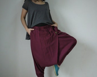 Women Men Pants - Drop Crotch Burgundy Cotton Jersey Pants With 2 Side Pockets And Elastic Waist Band