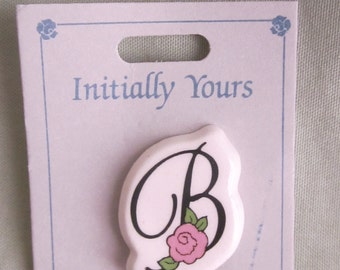 Vintage Initial B with Pink Rose 1984 New Old Stock Still on Card Letter B Brooch