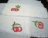 3 Vintage Embroidered Napkins or Doilies Cherries and Strawberries
