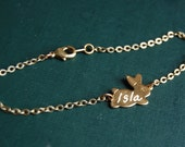 Custom Bunny Bracelet with Hand Engraved Initials or Name.   Perfect Gift for Mothers with the name or initials of their children.