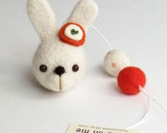 Needle felt rabbit ornament : felted bunny head with 2 felt balls - white and orange red Spring decor. Nursery decor