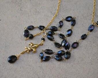 Black Spinel Fleur de Lis necklace gold filled