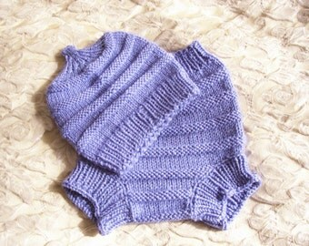 Hand Knitted Wool Diaper Cover with matching Hat Baby Diaper Cover Wool Baby Soaker Cloth diaper size Medium 6 - 12 Months