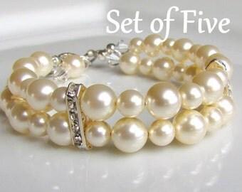 Ivory Pearl Bracelet, Double Strand Pearl Bracelet, Multi-Strand, Pearl Cuff, Pearl Bridesmaids Bracelet, Bridesmaids Gift Set, Wedding