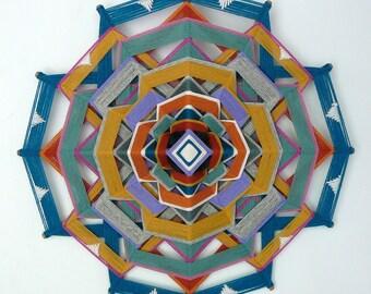 Ojo de Dios, yarn mandala, Golden Ring, an 18 inch, 12-sided, by custom order