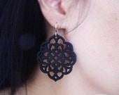 Carved/Cut Wood Earrings - Wood Earrings - Moroccan Delight - Matte Black