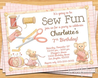"""Sewing Birthday Party Invitation - 5x7"""" Printable File"""