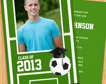 Class of 2017 High School/College Soccer Graduation Invitation - Print at Home or E-card