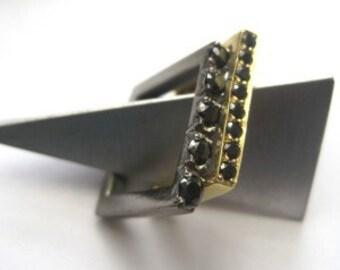 Thin Black Pavé Stacking Ring