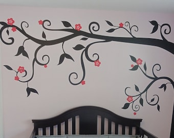 Half Tree Decal with Flowers