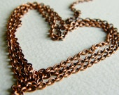 Tiny solid brass soldered cable chain, antique copper plated,  USA made, 2x2.4mm (18 inch) NEW